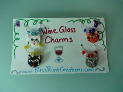 Cat Wine Glass Charms-Set 1